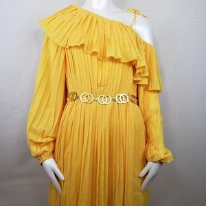 Endless Rose Pleated One Shoulder Yellow Dress Med